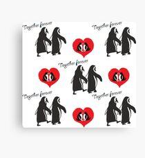 Together forever penguin pattern Canvas Print