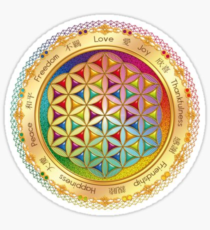 The Flower of Life - light with framing Sticker
