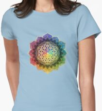 Rainbow Flower of Life with Lotus Womens Fitted T-Shirt
