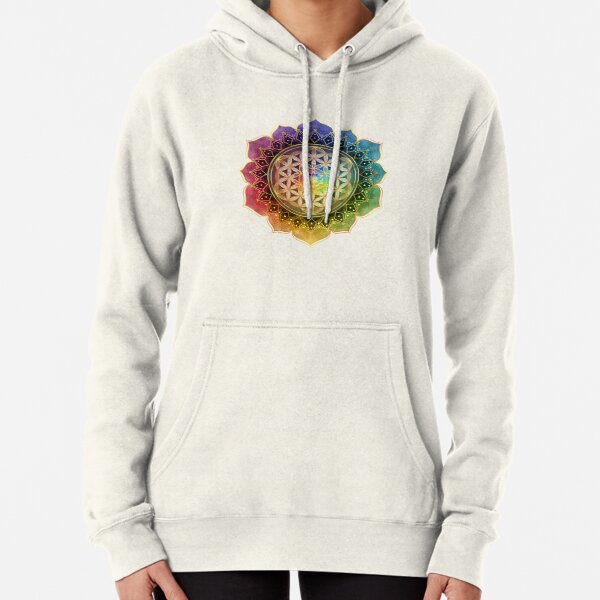 Rainbow Flower of Life with Lotus Pullover Hoodie