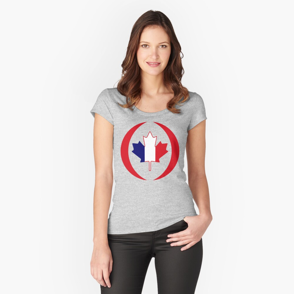 French Canadian Multinational Patriot Flag Series Fitted Scoop T-Shirt