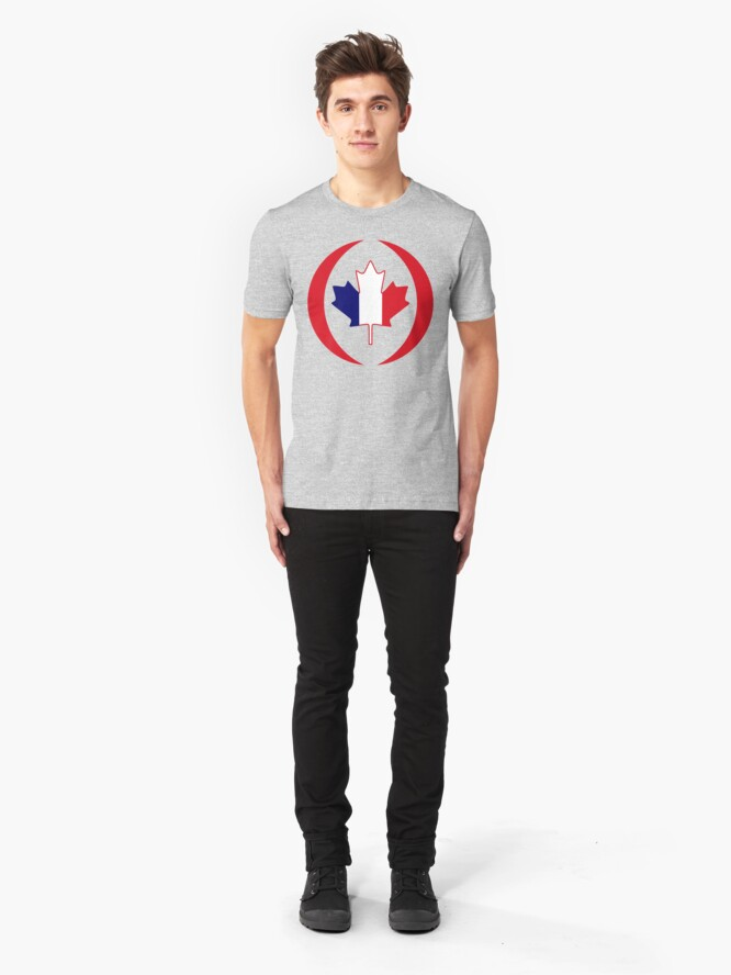 Alternate view of French Canadian Multinational Patriot Flag Series Slim Fit T-Shirt