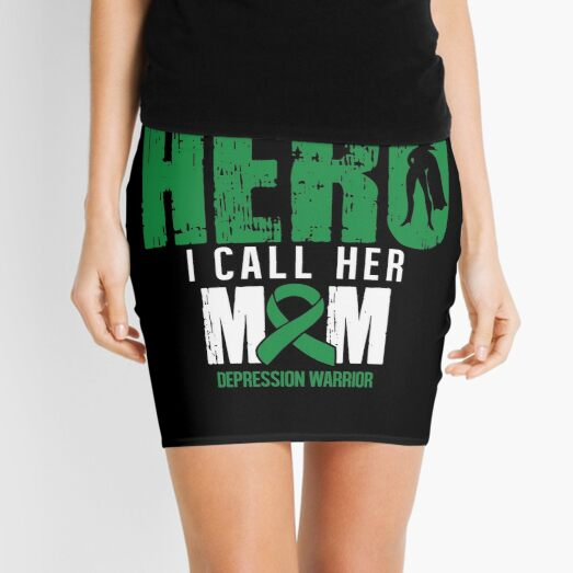 Call Her Mom- Depression Awareness Gifts for Women Depression Support Ribbon Mini Skirt