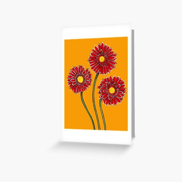 Three Pink Gerberas Greeting Card