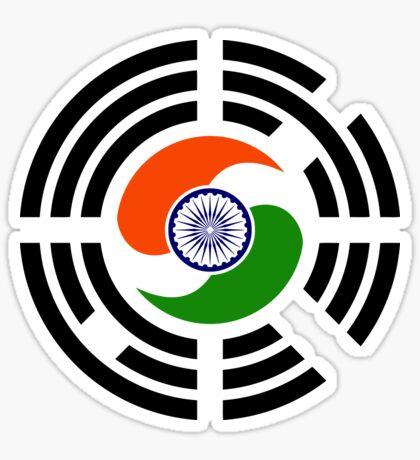 Korean Indian Multinational Patriot Flag Series Sticker