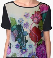 """Whimsy"" - Colorful Unique Original Artist's Fantasy Floral Design! Women's Chiffon Top"