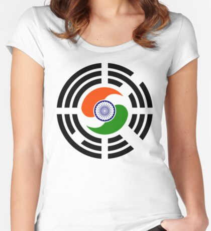 Korean Indian Multinational Patriot Flag Series Fitted Scoop T-Shirt