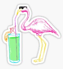 Flamingo Cocktail Party Sticker
