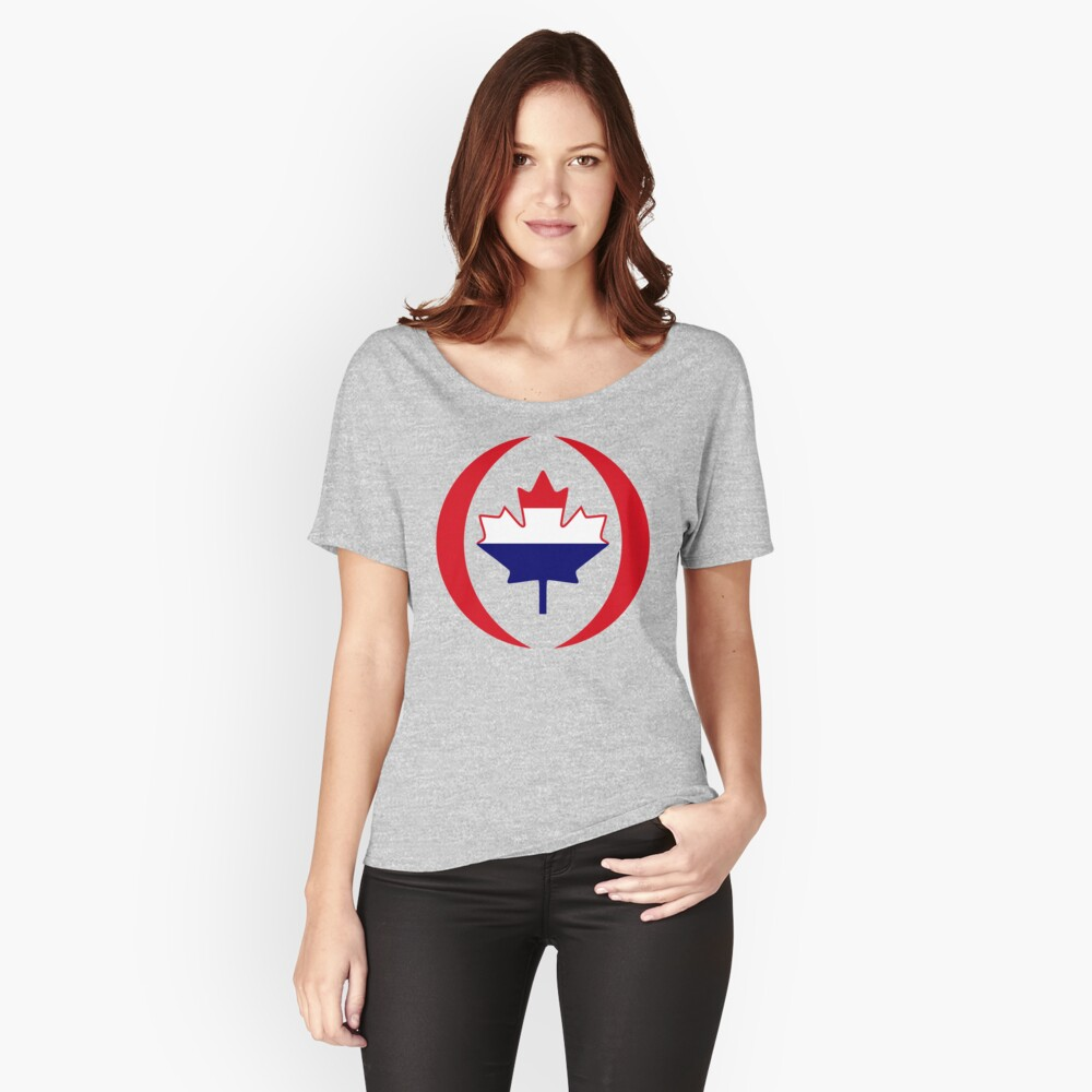 Dutch Canadian Multinational Patriot Flag Series Relaxed Fit T-Shirt