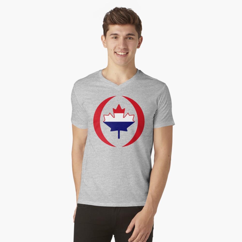 Dutch Canadian Multinational Patriot Flag Series V-Neck T-Shirt