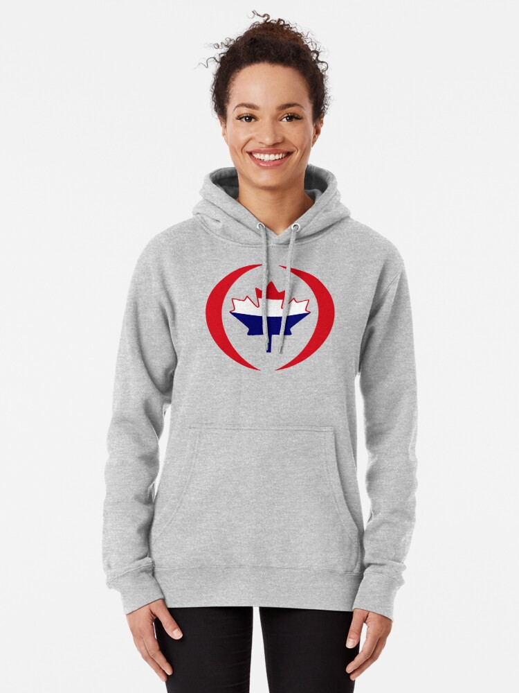 Alternate view of Dutch Canadian Multinational Patriot Flag Series Pullover Hoodie