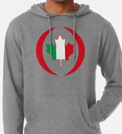 Italian Canadian Multinational Patriot Flag Series Lightweight Hoodie