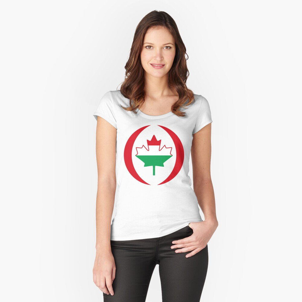 Hungarian Canadian Multinational Patriot Flag Series Fitted Scoop T-Shirt
