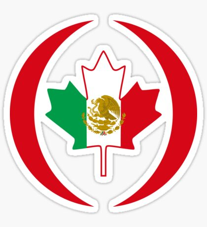 Mexican Canadian Multinational Patriot Flag Series Sticker