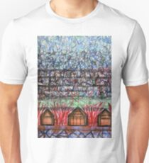 Three Cabins under Red Bushes T-Shirt