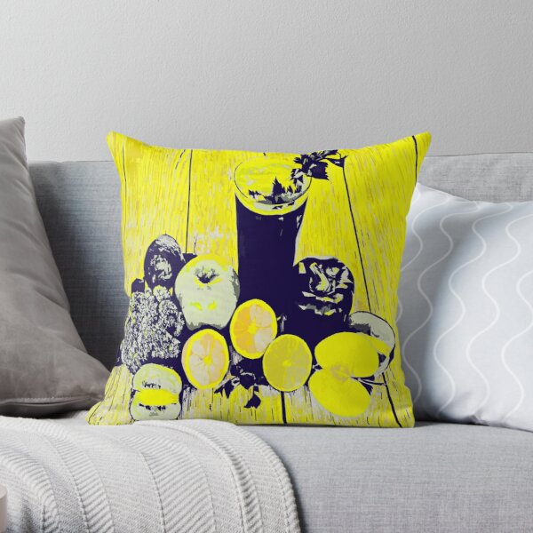 Neon JUICE art with apples oranges and brocoli  Throw Pillow