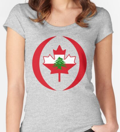 Lebanese Canadian Multinational Patriot Flag Series Fitted Scoop T-Shirt
