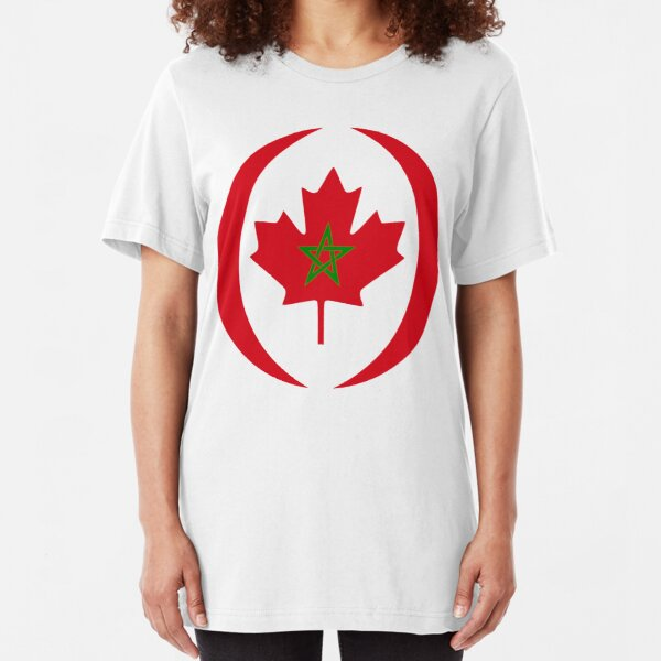 Moroccan Canadian Multinational Patriot Flag Series Slim Fit T-Shirt