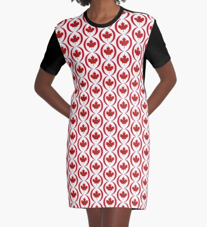 Moroccan Canadian Multinational Patriot Flag Series Graphic T-Shirt Dress