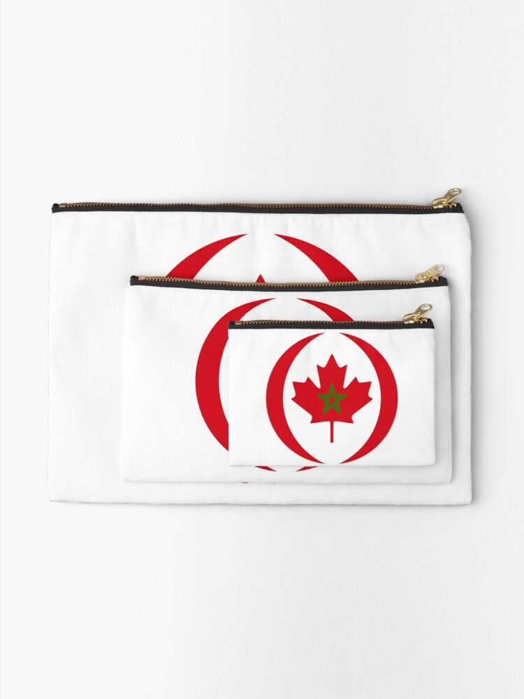 Alternate view of Moroccan Canadian Multinational Patriot Flag Series Zipper Pouch