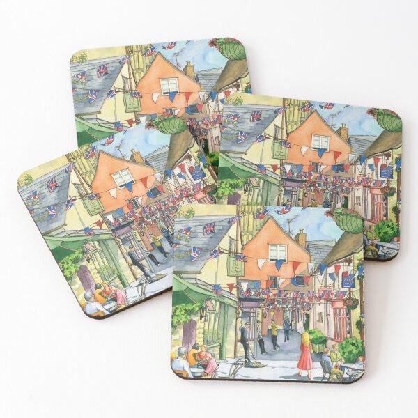 Bunting in Swan Yard, Cirencester, UK Coasters (Set of 4)