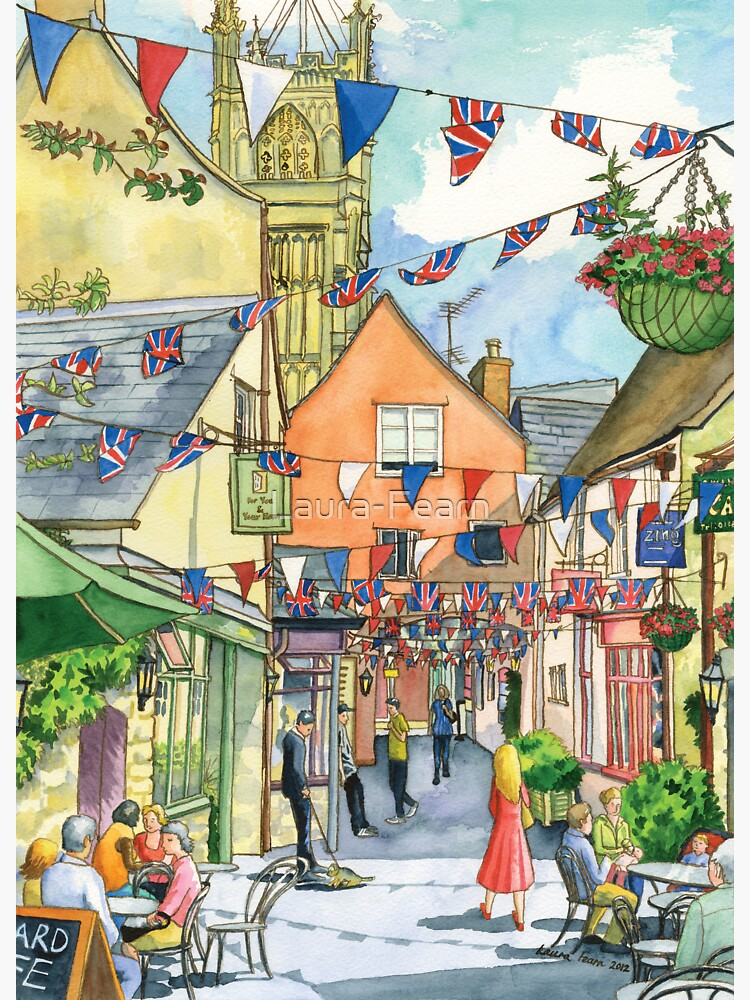 Bunting in Swan Yard, Cirencester, UK by Laura-Fearn