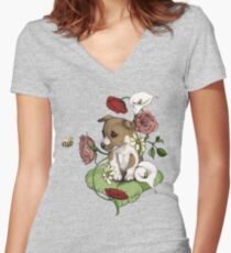 Puppy Bouquet Women's Fitted V-Neck T-Shirt