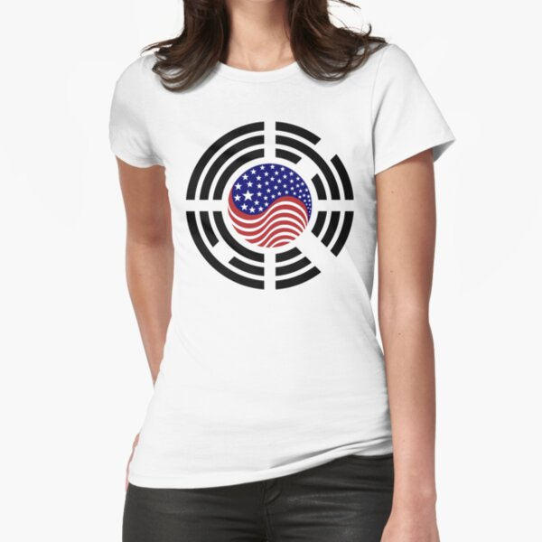 Korean American Multinational Patriot Flag Series  Fitted T-Shirt