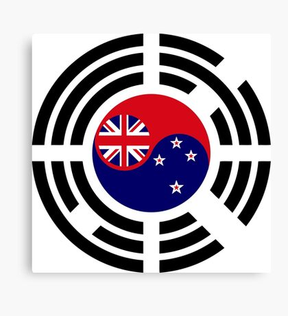 Korean Kiwi (New Zealand) Multinational Patriot Flag Series Canvas Print