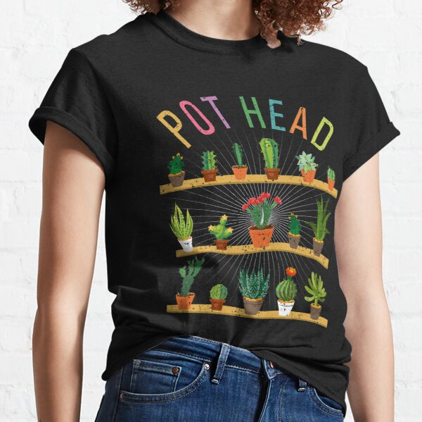 Plant Lover and Gardener T-Shirt Pot Head Succulent  Classic T-Shirt