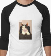 Photo Cute Cat Sitting at Keyboard  Men's Baseball ¾ T-Shirt
