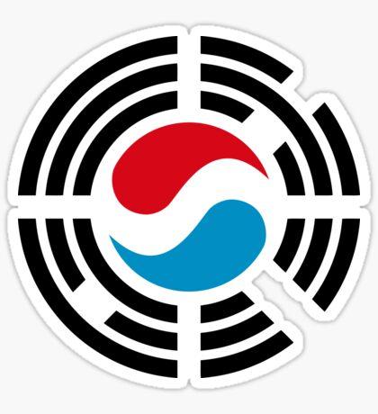 Korean Luxembourg Multinational Patriot Flag Series Sticker