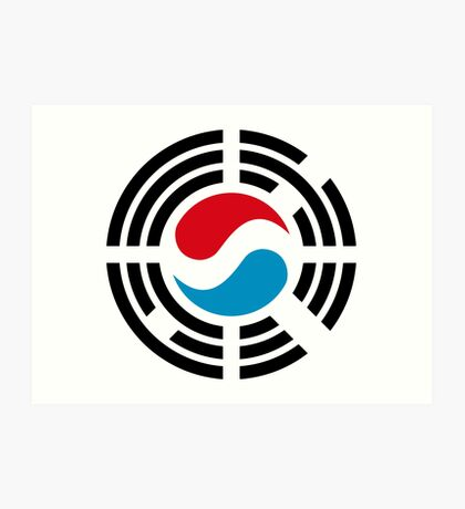 Korean Luxembourg Multinational Patriot Flag Series Art Print