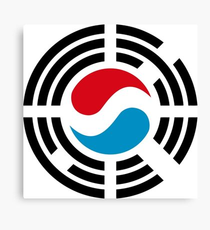 Korean Luxembourg Multinational Patriot Flag Series Canvas Print