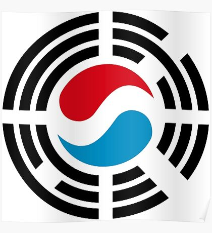 Korean Luxembourg Multinational Patriot Flag Series Poster