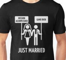 Just Married – Mission Accomplished – Game Over (White) Unisex T-Shirt