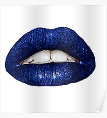 Blue Metallic Lip Poster