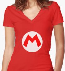 Mario Symbol Women's Fitted V-Neck T-Shirt