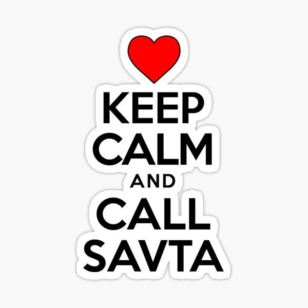 Keep Calm Call Savta Jewish Grandmother Cute Heart Sticker