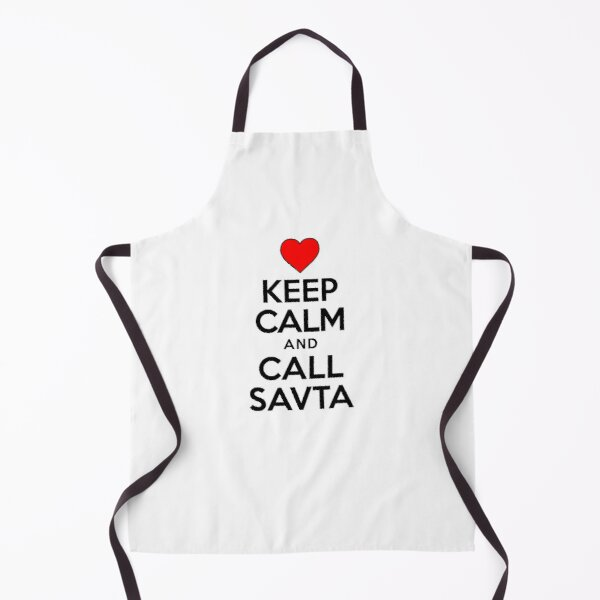 Keep Calm Call Savta Jewish Grandmother Cute Heart Apron