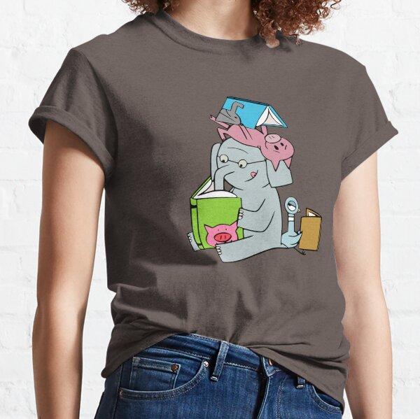 Elefant und Schweinchen lesen. Gerald und Schweinchen. Classic T-Shirt