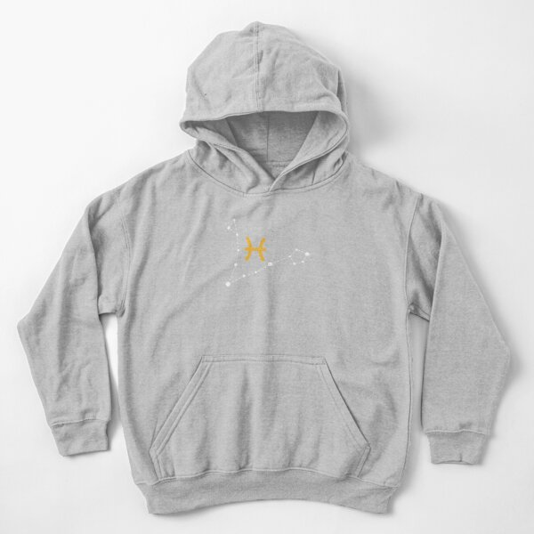Pisces Sign with Constellation (White) Kids Pullover Hoodie