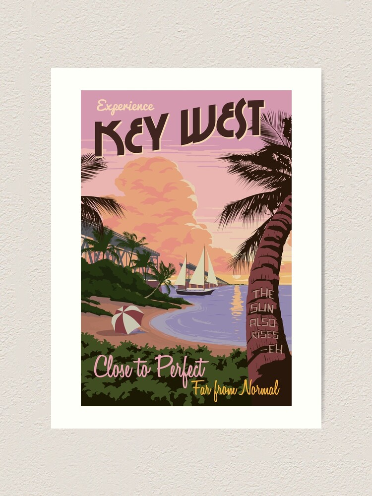Alternate view of Vintage Key West Travel Poster Art Print