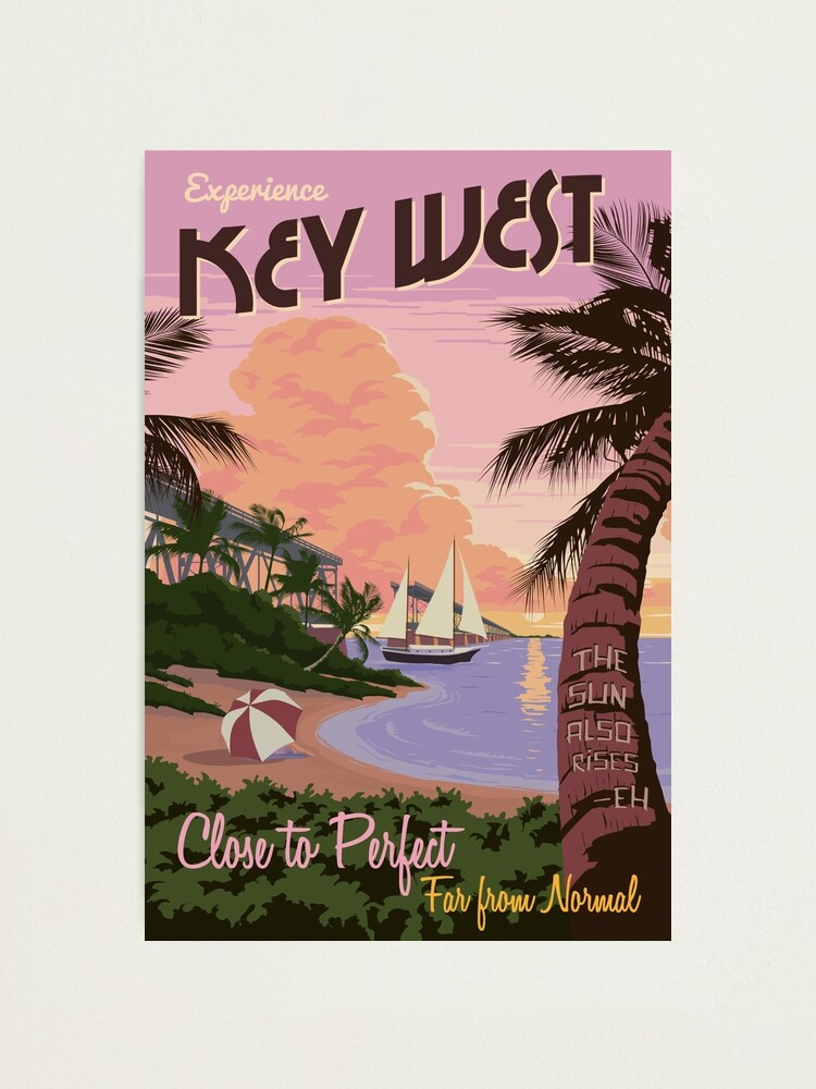 Alternate view of Vintage Key West Travel Poster Photographic Print