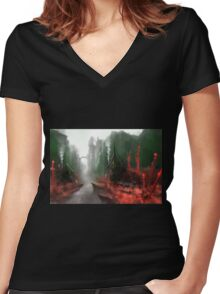 """INSAMNIA's """"Red Thorn Pass"""" Women's Fitted V-Neck T-Shirt"""