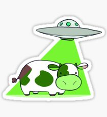 Cow Alien Abduction Sticker