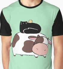 Cow Black Cat and Chick Graphic T-Shirt