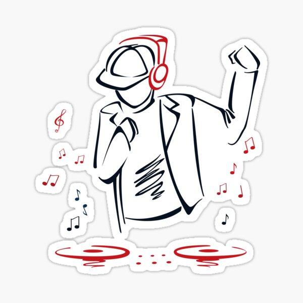 Man DJ Spinning The Decks Glossy Sticker