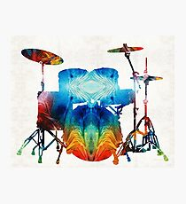 Drum Set Art - Color Fusion Drums - By Sharon Cummings  Photographic Print