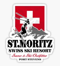 St. Moritz - Ski Alpine - Swiss flag Sticker